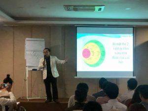 Diễn giả Nguyễn Mark đang phân tích về cấc vấn đề tâm lý khi giao dịch