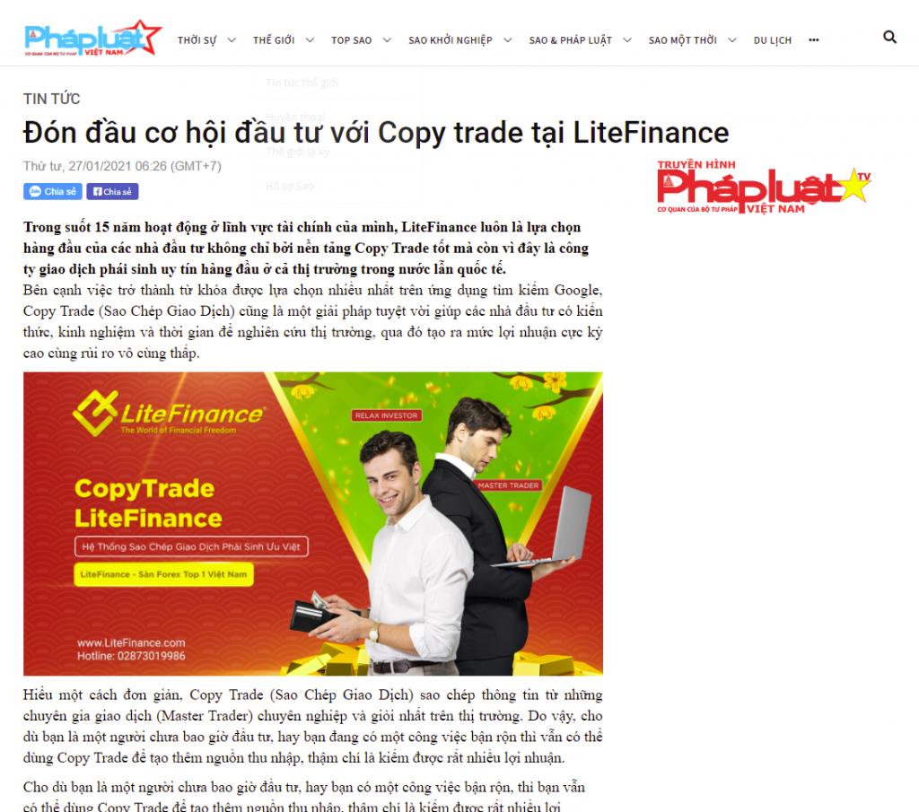báo pháp luật việt nam có bài viết về copy trade của LiteFinance